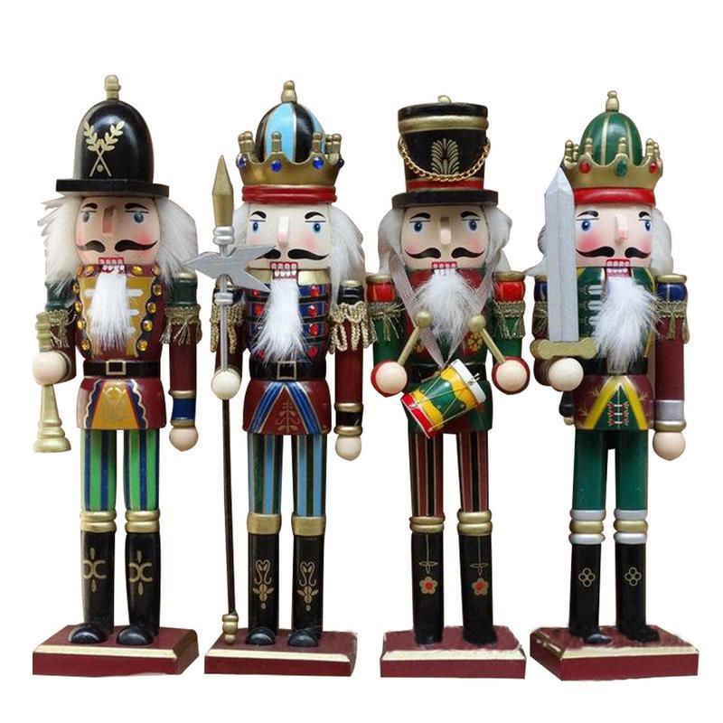 4 pièces solide bois casse-noisette soldats cadeau ensemble classique main peinture poupée grande décoration pour bureau maison noël