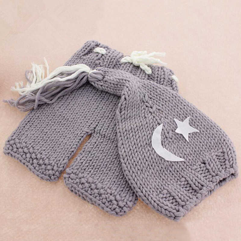 Newborn Photography Props	Crochet Baby Costume Baby Photo Props Knitted Hat+Pants Set Baby Photography Accessories Fotografia