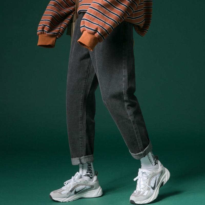 Jeans Men Fashion Wash Straight Slim Retro Solid Color Denim Pants Man Streetwear Hip Hop Casual Cowboy Trousers Male Clothes