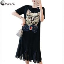 2019 Women Dress Summer Plus Size Party Club Vestidos Cartoon Cat Casual Short Sleeve O Neck M-4XL