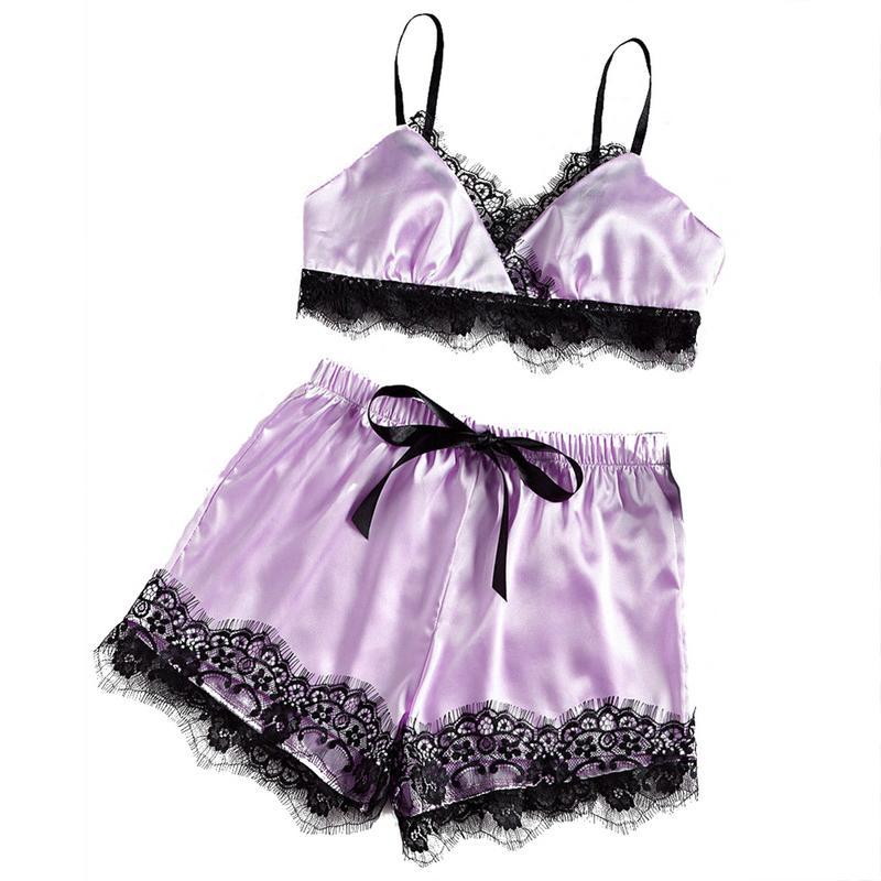 b02a12ea29 Detail Feedback Questions about Sexy Lace Split Pajamas Set Womens Satin  Pajama Set Plus Size Top Lace Trim Split Shorts Sleepwear Stitch Femmine  Lace ...