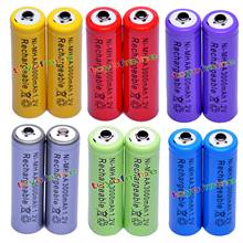2018 lot 1.2V 3000mAh Ni-MH AA Pre-Charged Rechargeable Batteries For Toys Camera Microphone yellow/red/purple/green/blue/grey(China)