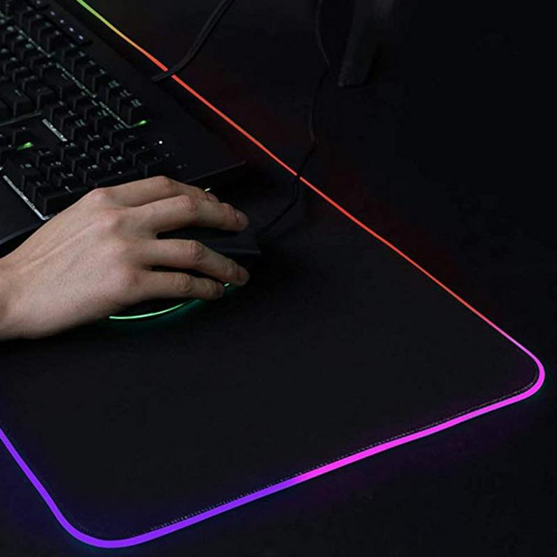RGB Office Gaming Mouse Pad Rollable Natural Rubber Soft Luminous Computer Accessories For Laptop Computer Supplies Dropship