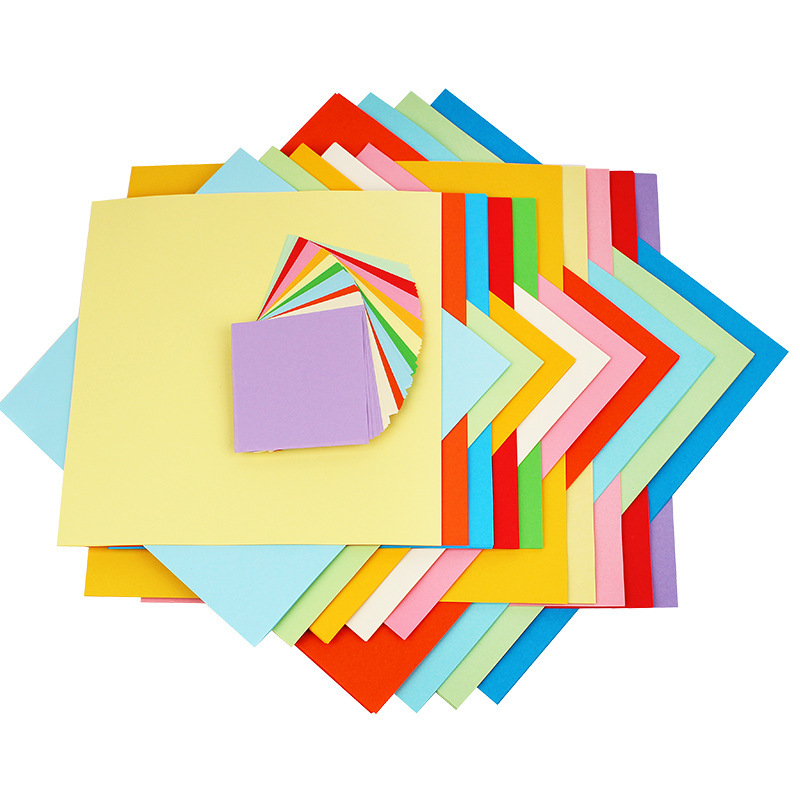 Купить с кэшбэком 100pcs Multicolor Solid Color Origami Paper Craft Folding Square Papers Handmade DIY Scrapbooking Cards Gift Craft Decoration