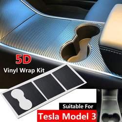 MỚI Dán Xe Kiểu Dáng Trung Tâm Điều Khiển Bọc Kit Xe Tự Động 5D Sợi Carbon Màu Đen Vinyl cho Tesla Mô Hình 3