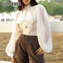 Шифоновая прозрачная блузка chicever женская с воротником стойкой