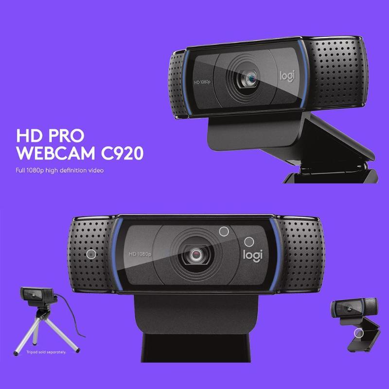 Logitech C920 Full HD 1080P Webcam pour enregistrement vidéo YouTuber caméra Webcam à mise au point automatique avec micro pour accessoires Youtube Studio