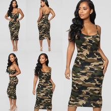 baf3f2c50d9 Women Summer Olive Green Camo Camouflage Military Tank Maxi Dress Sundress  S M L XL XXL