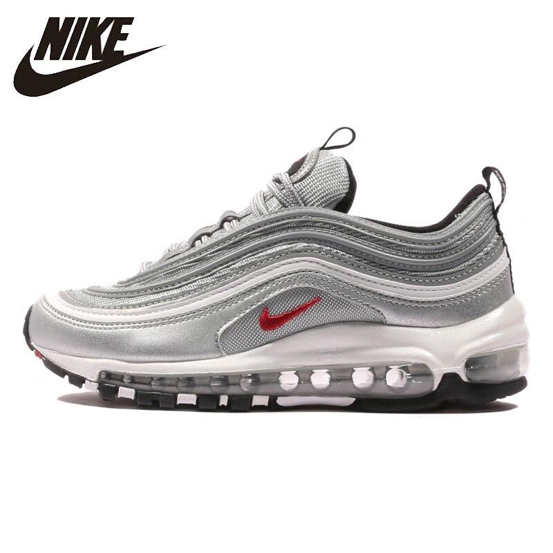 054a16f9 Nike Air Max 97 OG QS Новое прибытие мужские дышащие кроссовки для бега  тэмпинг золотые и серебряные кроссовки #884421-001/700