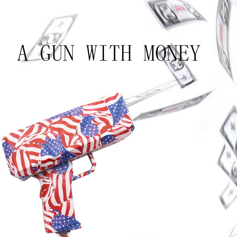Make It Rain Money Gun Toy Christmas Gift Party Toys Game Cash Fashion Money Gun Toys Bubble Column For Package Decompression