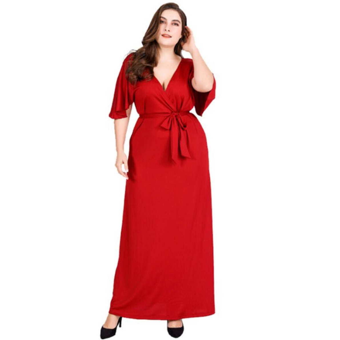 7968c788ff Women Long Sexy Low Cut Dress Casual Club Plus Size Aline Plain High waist  Female Fashion Travel Party Holiday 5XL Maxi Dress
