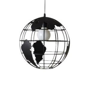 Image 1 - Nero loft creativo continental retrò unico globe lampadario Moderno metallic salotto casuale lampada da soffitto