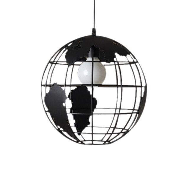 Nero loft creativo continental retrò unico globe lampadario Moderno metallic salotto casuale lampada da soffitto