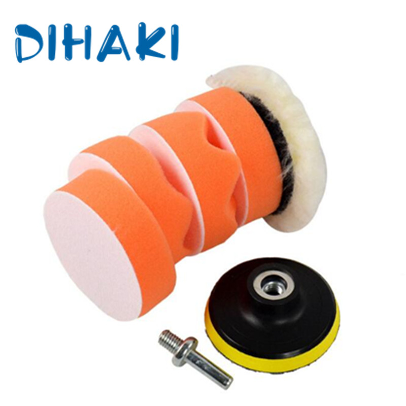 7 Pcs/Set Auto Car Polishing Pad Kit With M10 Drill Adapter For Car Polisher Electric Drill Pack 3 Inch Buffing Pad Kit Compound