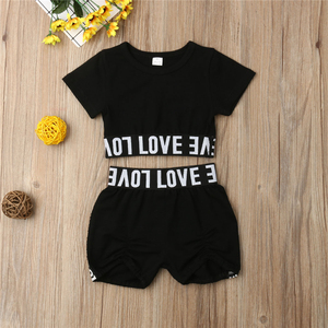 Fashion Toddler Kids Girl Kid Child Black Crop Tee Top T shirt Short Pants Clothes Sunsuit Outfit Children's Sets(China)