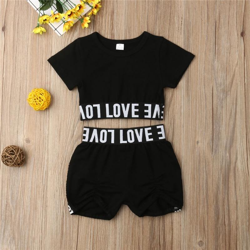 Okbabeha Fashion Toddler Kids Girl Kid Child Black Crop Tee Top T Shirt Short Pants Clothes Sunsuit Outfit Children's Sets