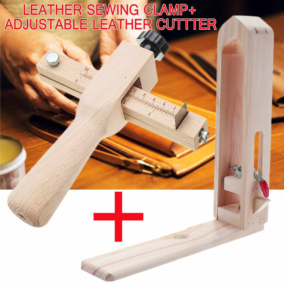 Adjustable Leather Strap Cutter Leathercraft Strip Belt DIY Hand Cutting Wooden Strip Cutter 5 Blades With Leather Sewing Tools