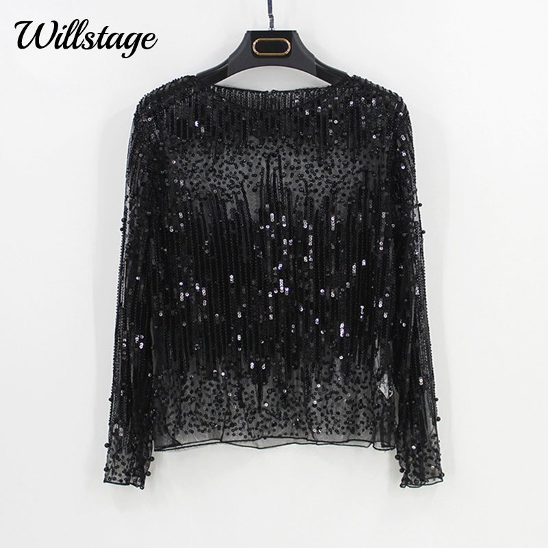 Willstage paillettes hauts femmes T-shirt à manches longues maille Sexy chemise perle broderie Tee or argent Bling Party blusa 2019 printemps