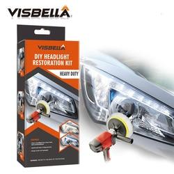 Visbella kit pasta de polimento farol diy restauração para cuidados com o carro reparação mão conjuntos de ferramentas cabeça lâmpada lentes por máquina