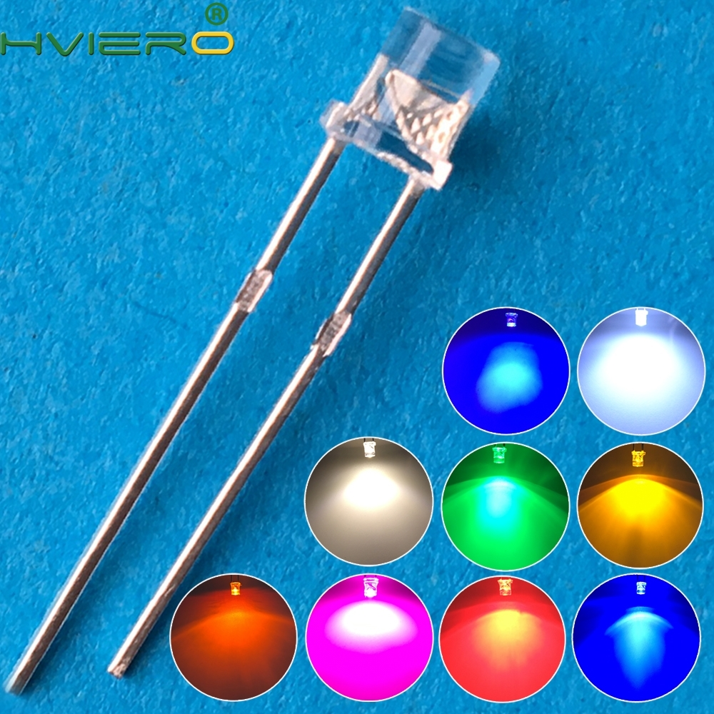 100pcs F3 3mm 2pins Flat Top White Red Yellow Blue Green Pink diode Led Wide Angle light emitting Diodes lamp Ultra Bright Bulb 100pcs 5050 white red green white yellow rgb purple uv 410 415nm led smd smt chips led diode ultra bright light emitting diodes