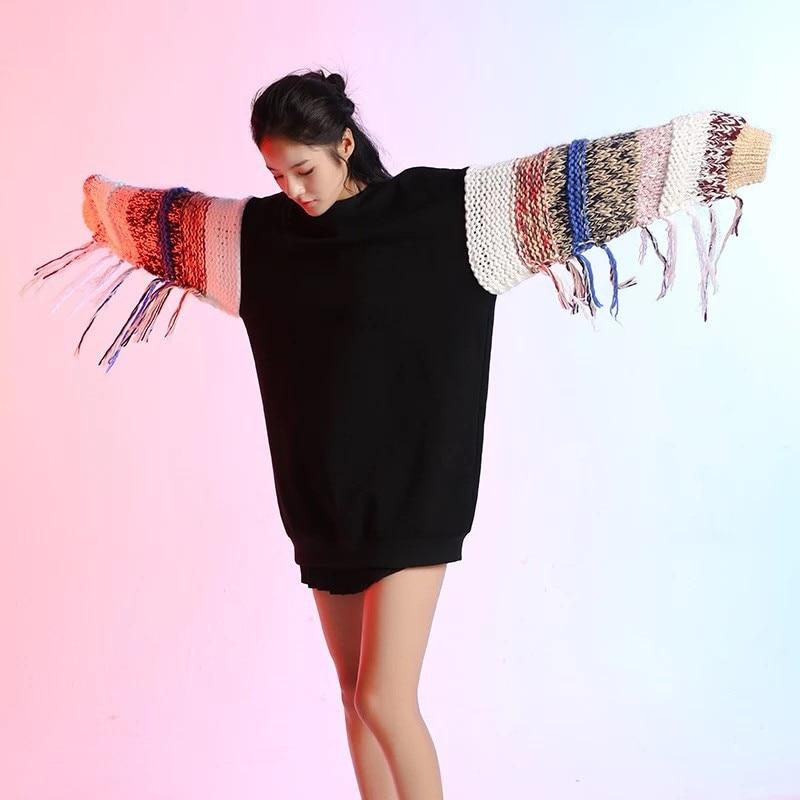 Rayé Pull Printemps Gland Patchwork Tricoté Lâche Streetwear Femmes 2019 Jumper Chandail Femelle Harajuku Vêtements Manches w0aZqxxp