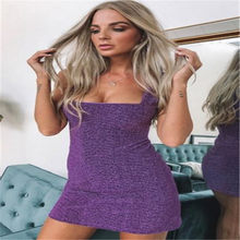 Women Ladies Solid Color Sequin Sleeveless Fashion Bodycon Evening Party Pencil Club Mini Dress Summer Clothes Dresses(China)