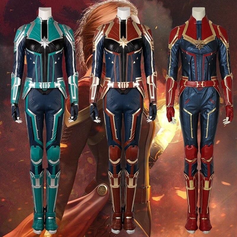 Captain Marvel Cosplay Ms Marvel Carol Danvers Costume Film Jumpsuit Comics Heroine Halloween Women Leather Adult