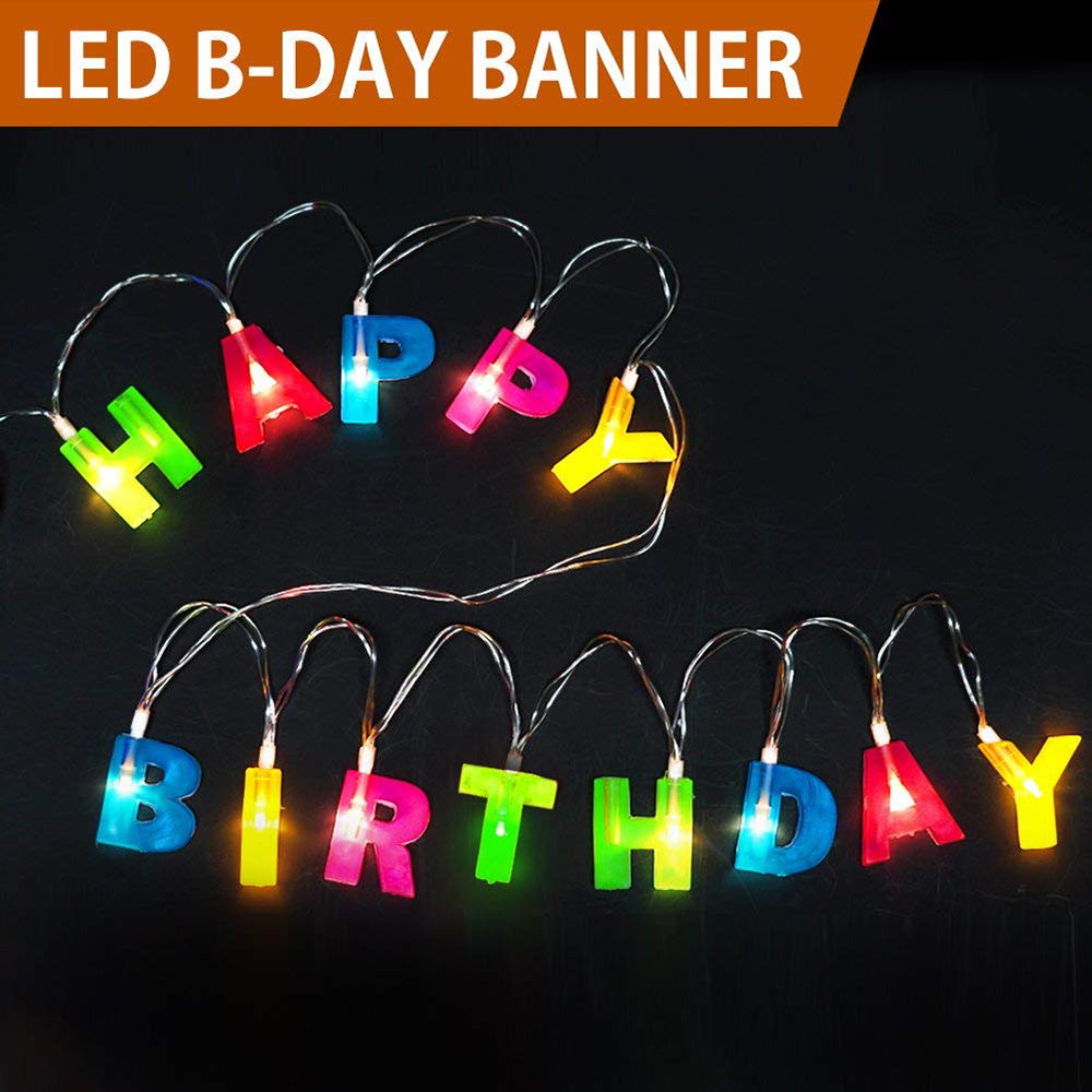 LED String Lights Happy Birthday LED String Lights Birthday Party Hanging Decorations Light Up Letter LED String Lights D25 in LED String from Lights Lighting