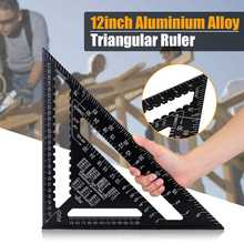 12 inch Metric Aluminum Alloy Triangle Angle Ruler Protractor Woodworking Measurement Tool 30cm Quick Read Square Layout Gauge(China)