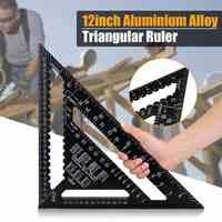 Triángulo de aleación de aluminio métrica de 12 pulgadas, transportador con regla y ángulo, herramienta de medición de carpintería, medidor de distribución cuadrado de lectura rápida de 30cm