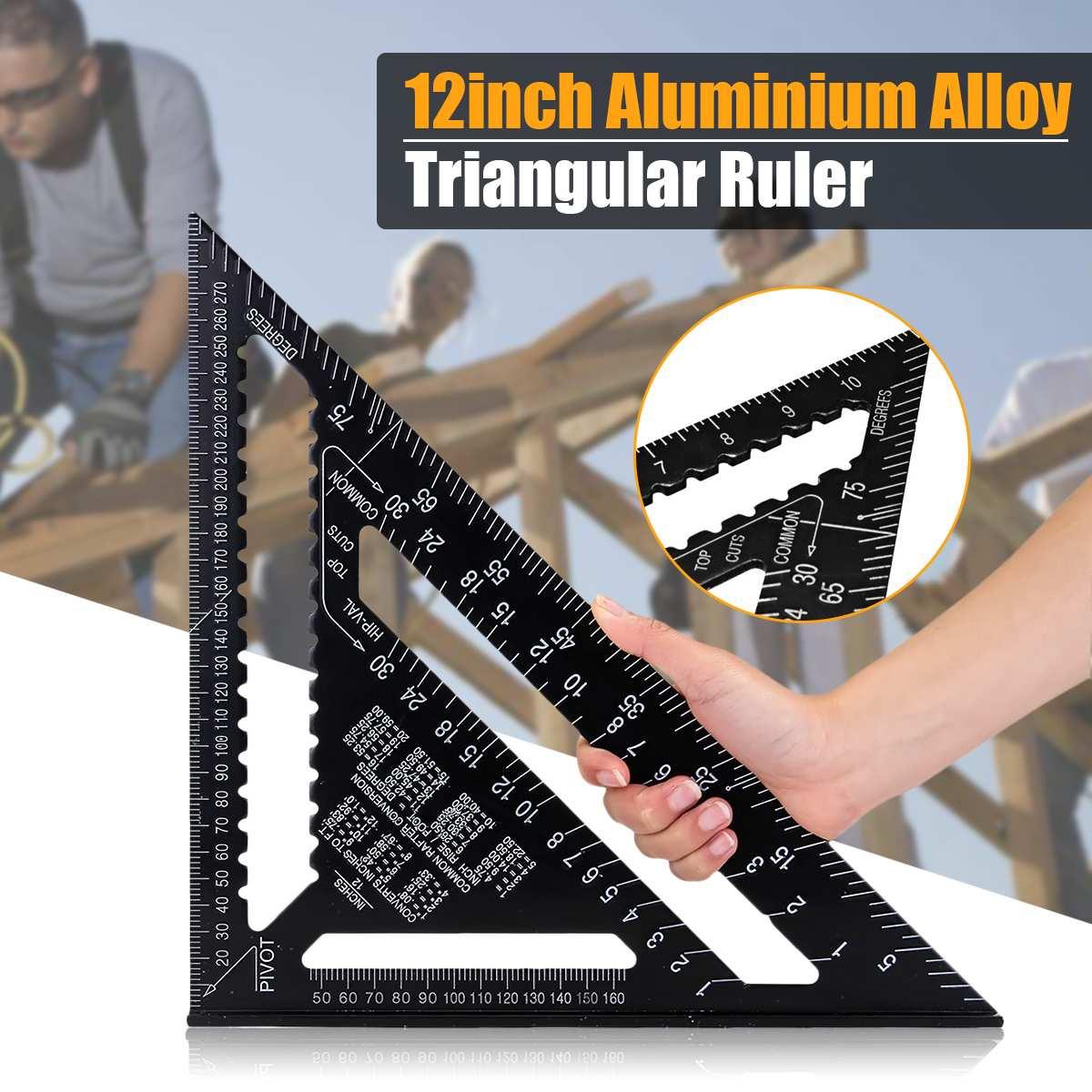 Triángulo de aleación de aluminio métrica de 12 pulgadas, transportador con regla y ángulo, herramienta de medición de carpintería, medidor de diseño cuadrado de lectura rápida de 30cm