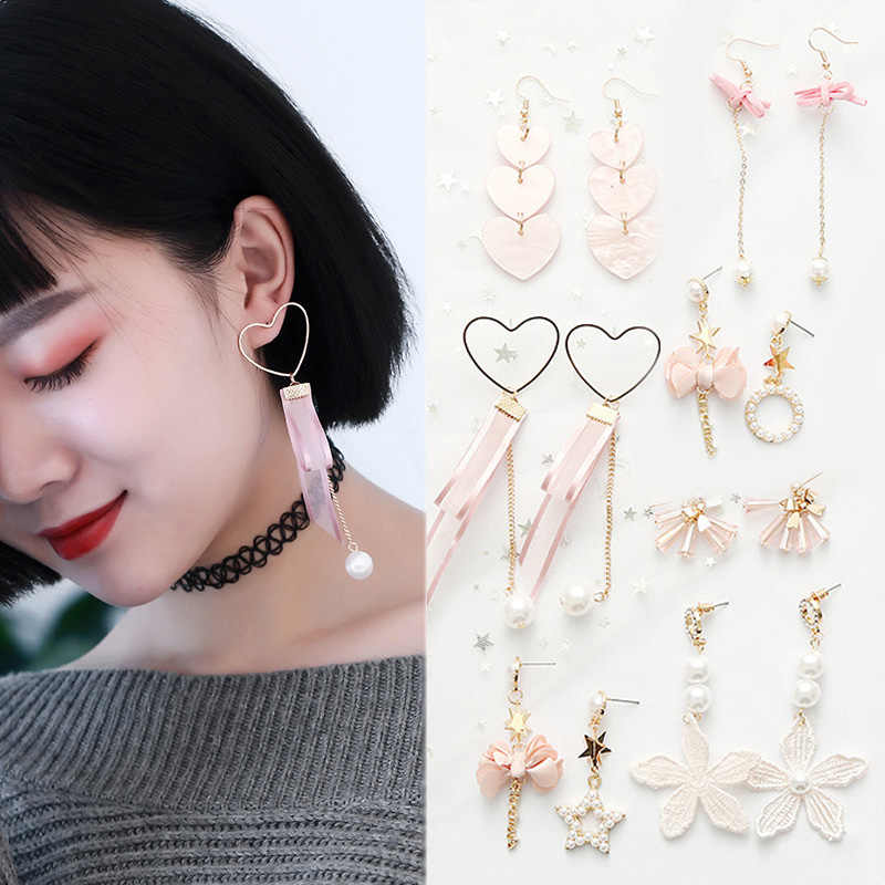 Fashion 1Pair Simulation Pearl Acrylic Korean Version Bow Tassel 17 Colors  New Arrival Pink Drop Earrings Jewelry