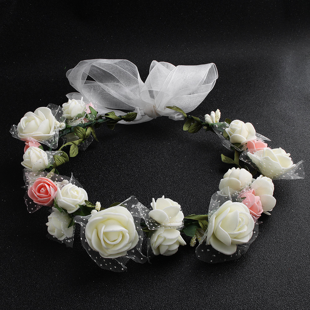 2018 Wedding Hair Accessories Women Pink Flower Crown Girl White   Headwear   Bohemia Fashion Flower Hairband Floral Wreath