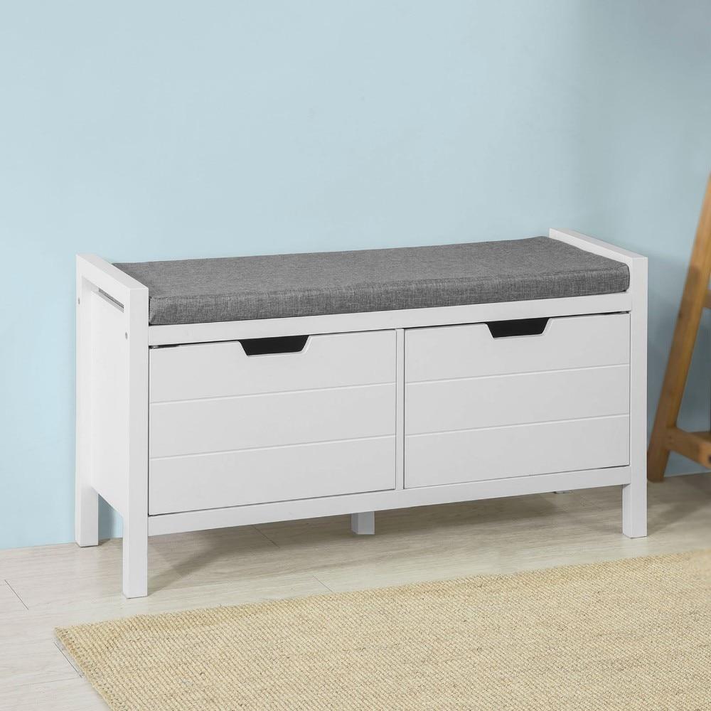 SoBuy® FSR63-W Shoe Bench Rack Cabinet Hallway Storage Bench with Seat Cushion