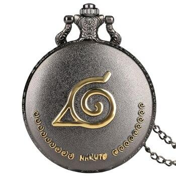 Reloj de bolsillo de cuarzo Naruto para hombre relojes de relieve dorado para niños personajes de dibujos animados tallado Collar para amigos