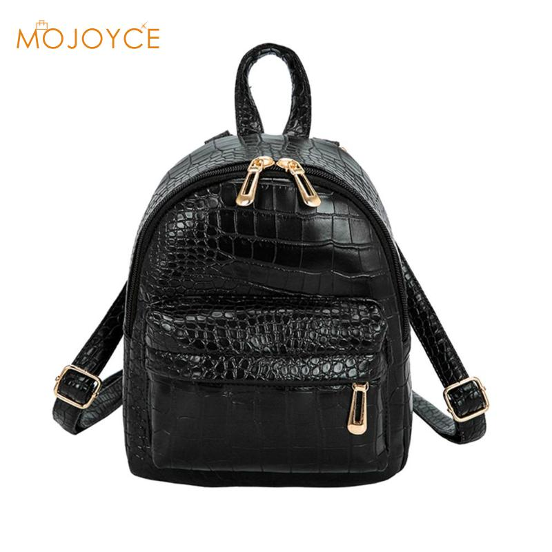 Women Casual Rucksack Alligator Pattern PU Leather Mini Backpack Zipper Fashion Dayback Shoulder Bags Sac A Dos Mochila FemininaWomen Casual Rucksack Alligator Pattern PU Leather Mini Backpack Zipper Fashion Dayback Shoulder Bags Sac A Dos Mochila Feminina