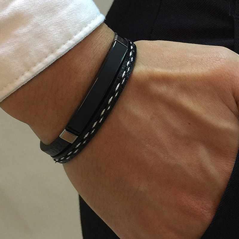 Ręcznie robiona bransoletka ze skóry podwójny łańcuch Link czarny kolor Wrap nadgarstek Unisex prezenty Dropshipping