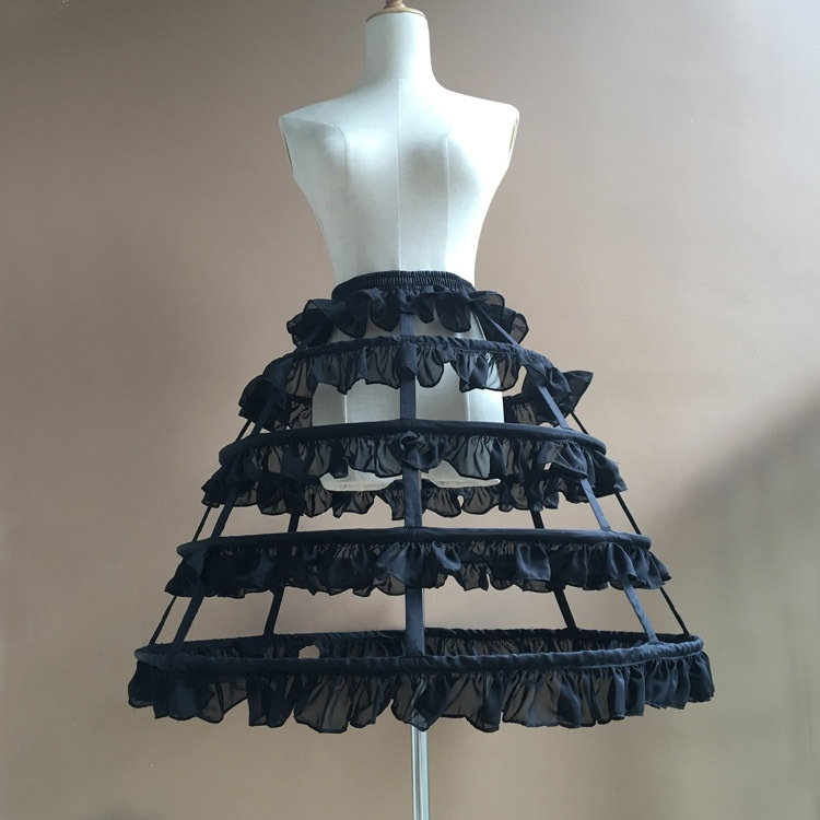 Long Cosplay Steel Boned Crinoline Skirt Sweet Hoop Petticoat With Ruffles