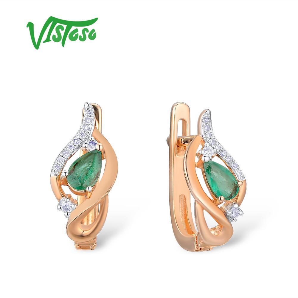 VISTOSO Gold Earrings For Women 14K 585 Rose Gold Glamorous Elegant Shiny Emerald Sparkling Diamond Luxury