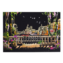 Kids Toys 40.5*28.5cm Venice City Night Scene DIY Scratch Painting Scraping Art Painting Drawing Paper+Draw Stick Brush Frame(China)