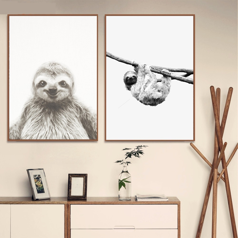 Sloth Black And White Animal Photos Posters And Prints Canvas Art Painting Wall Pictures For Living Room Decoration Home Decor in Painting Calligraphy from Home Garden