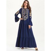 Vintage Women Muslim Dress Navy Blue Flare Sleeve Embroidery Dress Loose Ethnic Patchwork Long Dresses
