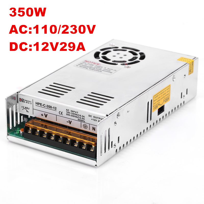 1PCS 350W 12V Power Supply 12V Power 100-240VAC DC12V S-350-12 12V 29A act112 12v