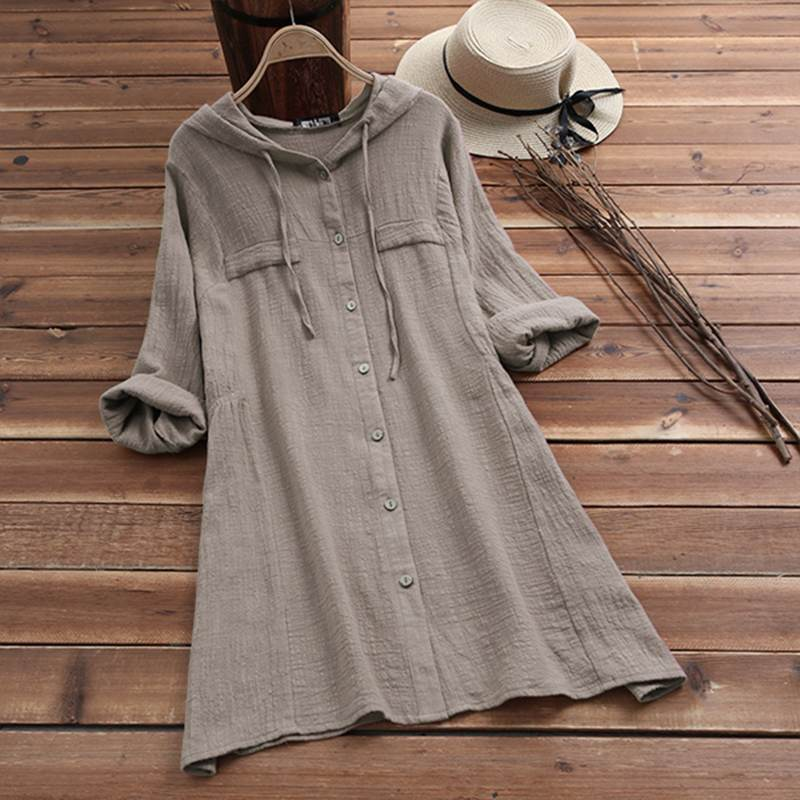 2019 Oversized Hooded Blouse Women Drawstring Hoody Casual Long Sleeve Female Vintage Button Down Shirts Cotton Linen Blusas 5XL