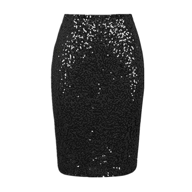eb7c8d693 Faldas de tubo sexis de mujer con lentejuelas de cintura alta Bodycon Bling  Glitter Mini Falda Mujer ...