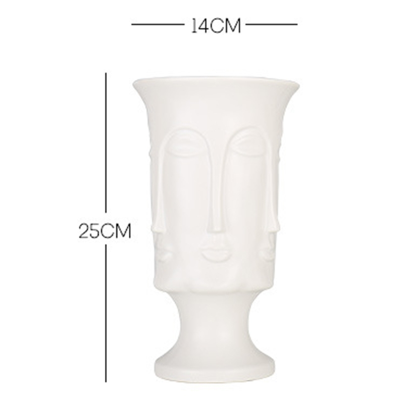 Image 5 - Nordic Minimalism Abstract Ceramic Vase Face Art Matte Glazed Decorative Head Shape Vase White Ceramic-in Flower Pots & Planters from Home & Garden