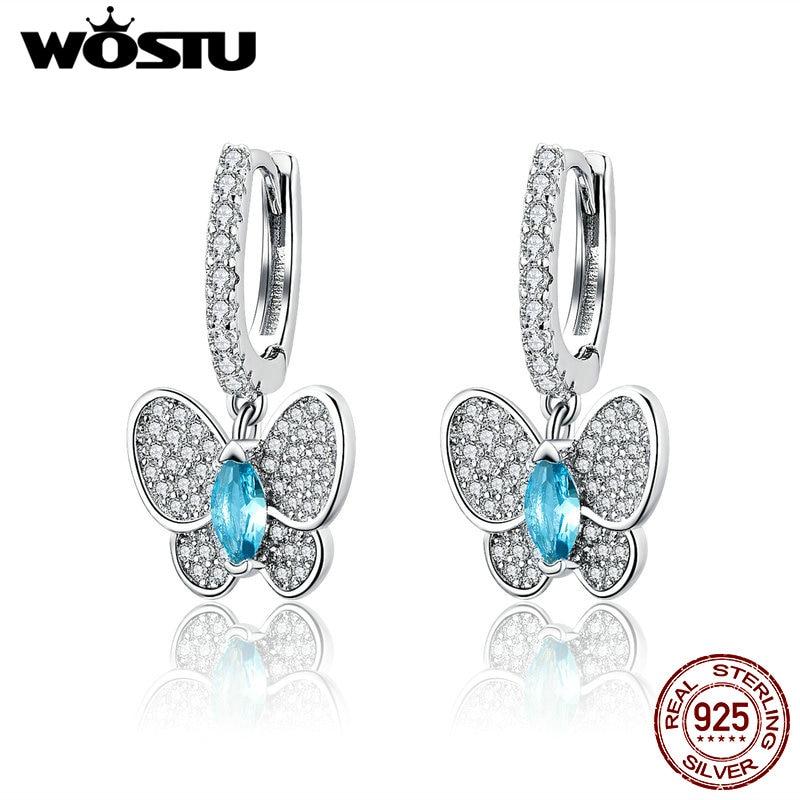 WOSTU 2019 Real 925 Sterling Silver Dazzling Blue Butterfly Cute Drop Earrings For Women Luxury Silver Brand Jewelry Gift CQE513