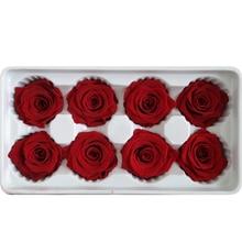8pcs/box High Quality Preserved Flowers Flower Immortal Rose 5cm Diameter Mothers Day Gift Eternal Life Flower Material Gift Box