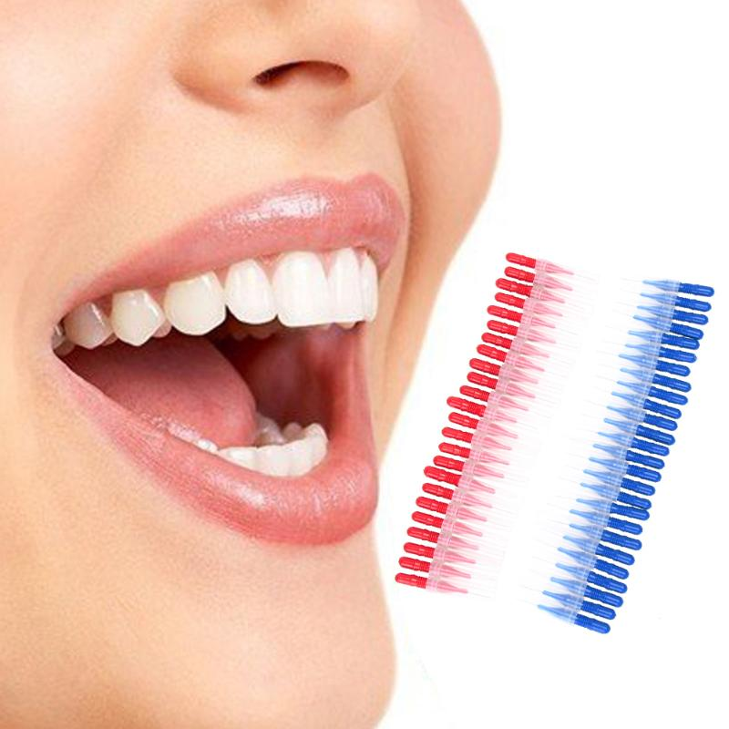 50PCS Tooth Flossing Head Soft Plastic Interdental Brush Oral Hygiene Dental Toothpick Tooth Pick Brush Teeth Cleaning Tool