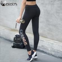 Sport Women Fashion Gym Yoga Legging High Waist Hip Up Black Letter Femme Pants Fitness Jogging Workout Mujer Seamless Shar